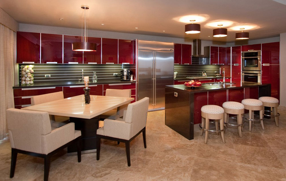 Contemporary-kitchen-by-Peg-Berens-Interior-Design-LLC Red kitchen design: ideas, walls and decor