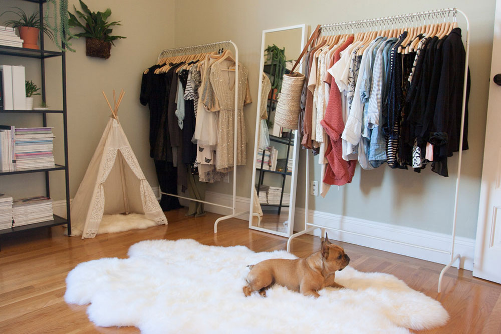 Eclectic-bedroom-by-Le-Klein clothes rack ideas to try out (hanging, free-standing, wood, metal)