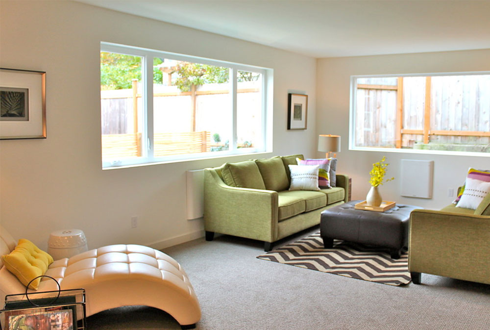 Modern-Green-Seattle-Remodel-by-Seattle-Staged-for-Sale-and-Design-LLC Green living room ideas: walls, chairs, paint