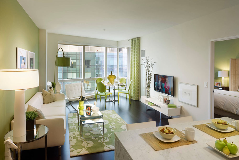 City-Living-on-the-Hudson-by-Gacek-Design-Group-Inc Green living room ideas: walls, chairs, paint