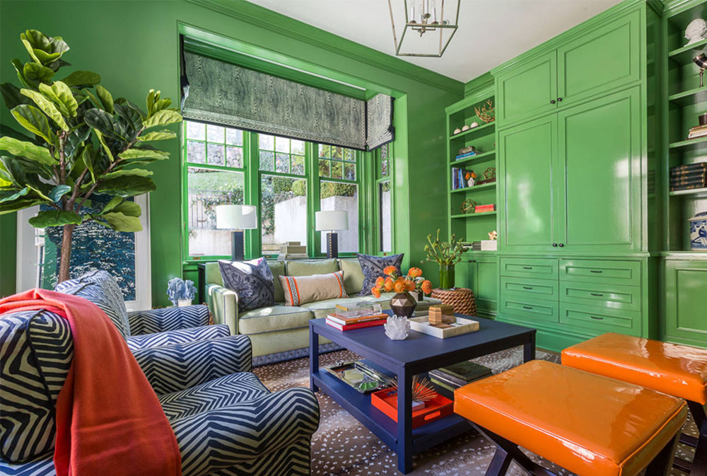 Cozy-with-a-pop-of-orange-by-Ann-Lowengart-Interiors Green living room ideas: walls, chairs, color