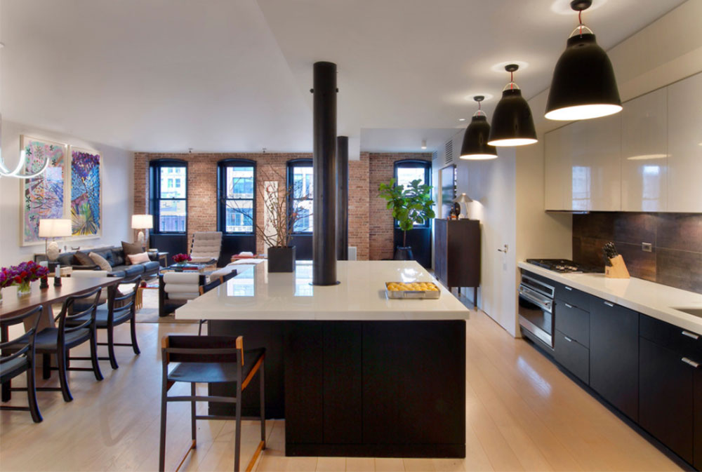 Tribeca-Residence-von-Dirk-Denison-Architects Black and White-Kitchen-Design-Ideas