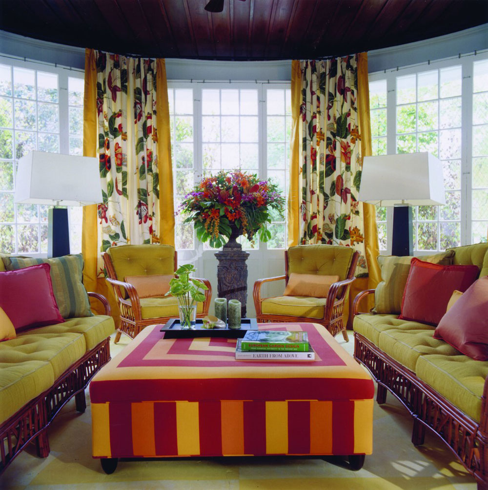 Hinsdale-Porch-Kreitinger-Design Bright and lively tropical color schemes