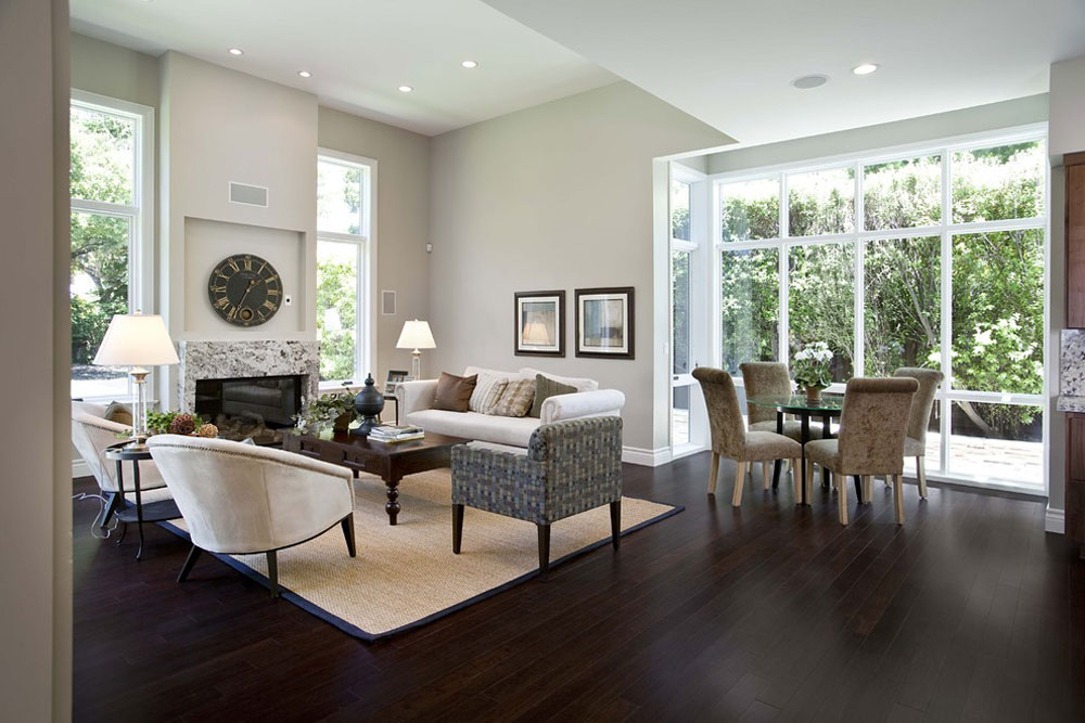contemporary family room bamboo flooring pros and cons