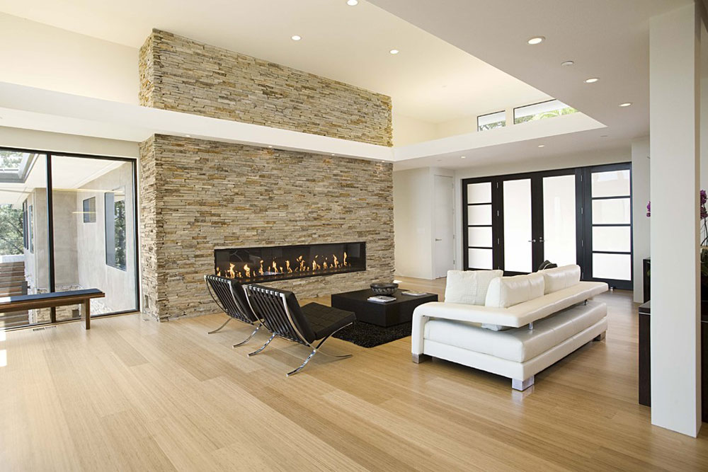 Modern living room bamboo floor pros and cons