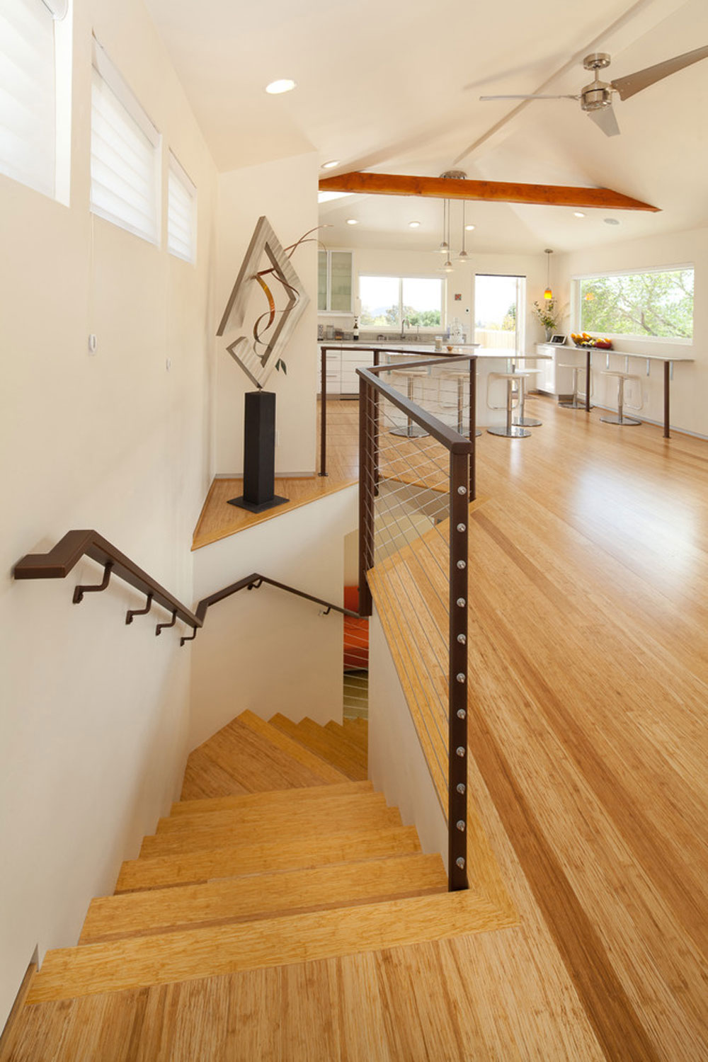 contemporary staircase bamboo flooring pros and cons