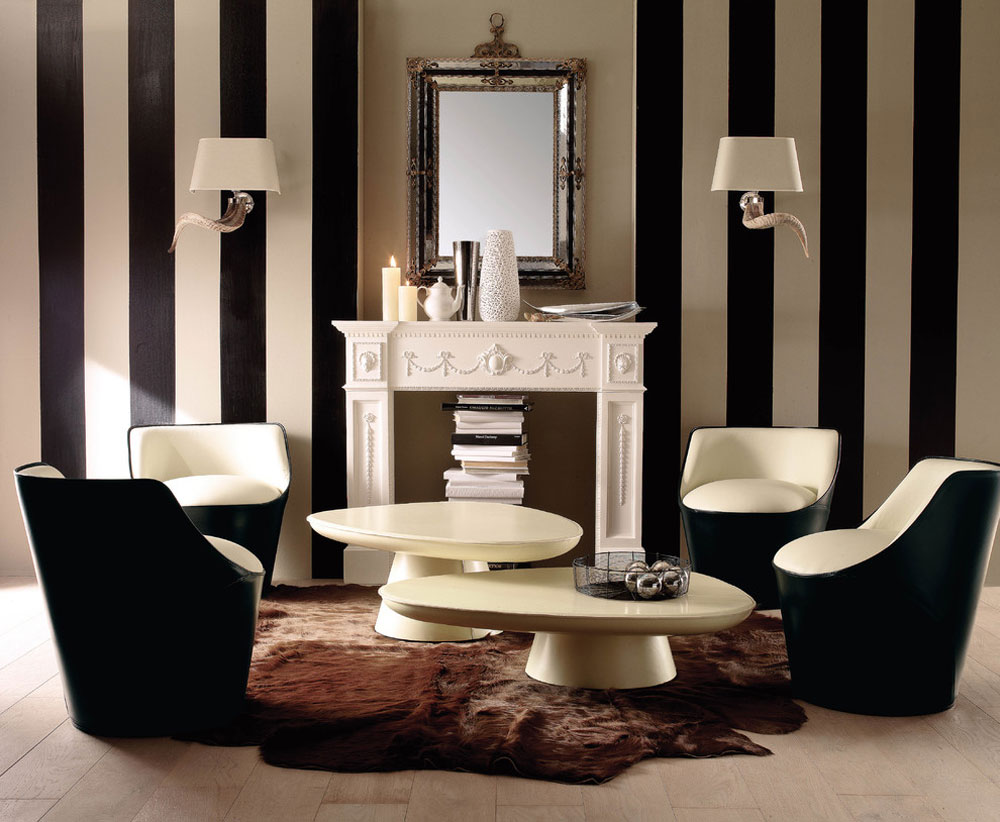 Beautiful living room with striped walls-13 Beautiful living room with striped walls