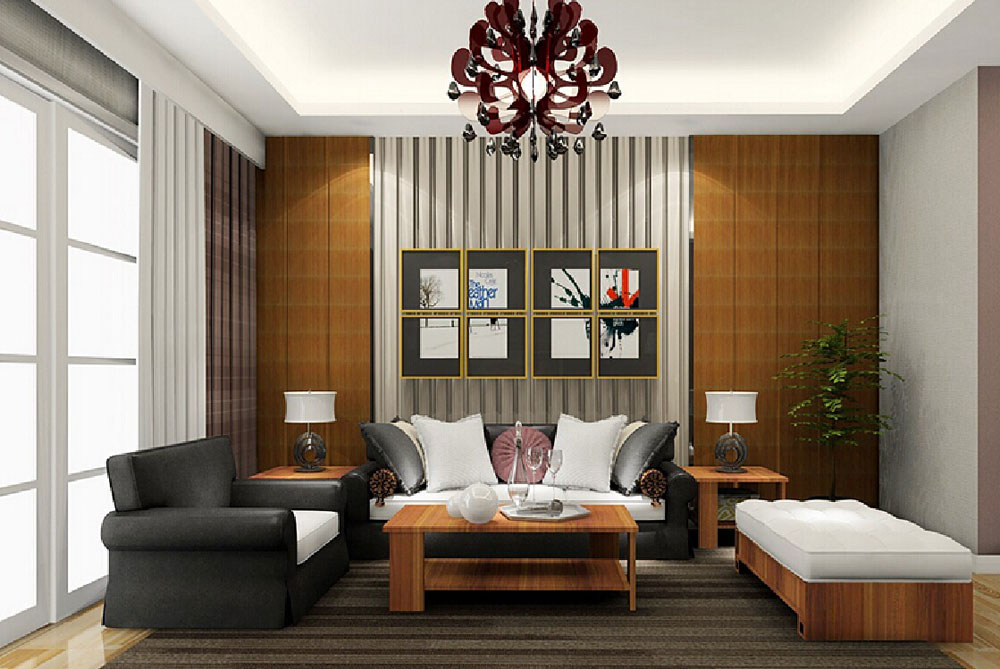 Beautiful living room with striped walls-1 Beautiful living room with striped walls