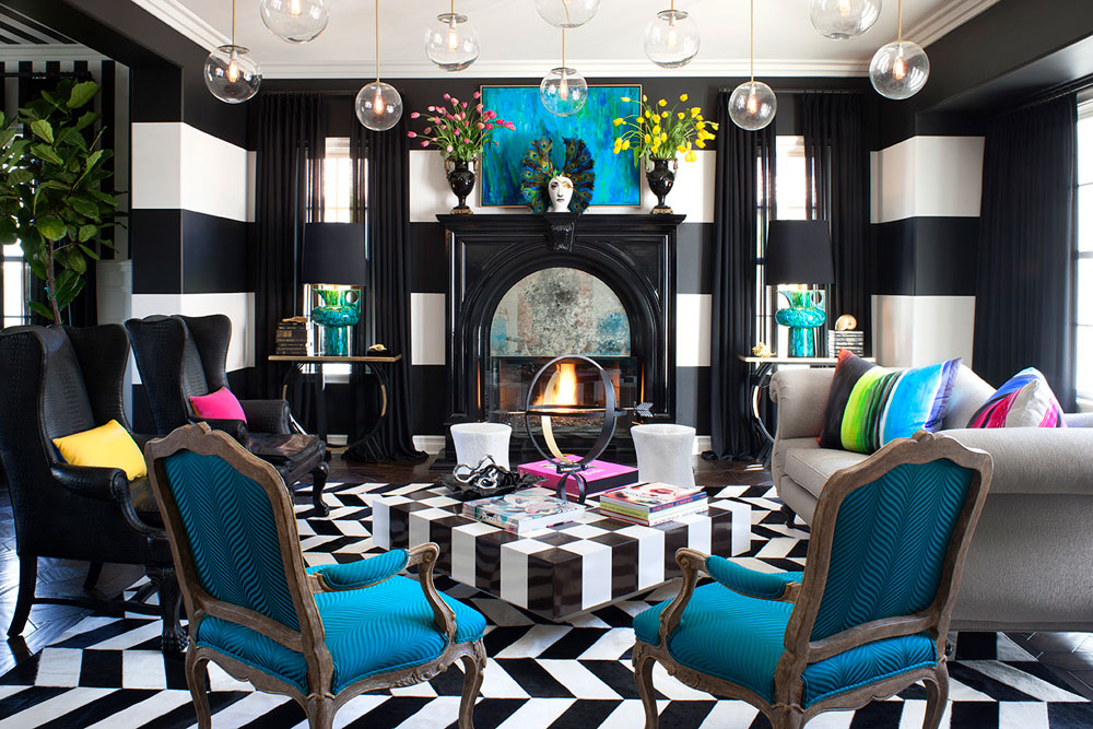 Beautiful living room with striped walls-9 Beautiful living room with striped walls