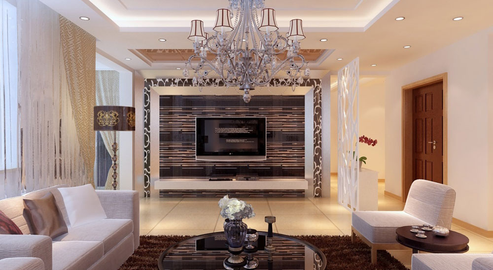 Beautiful living room with striped walls-10 Beautiful living room with striped walls
