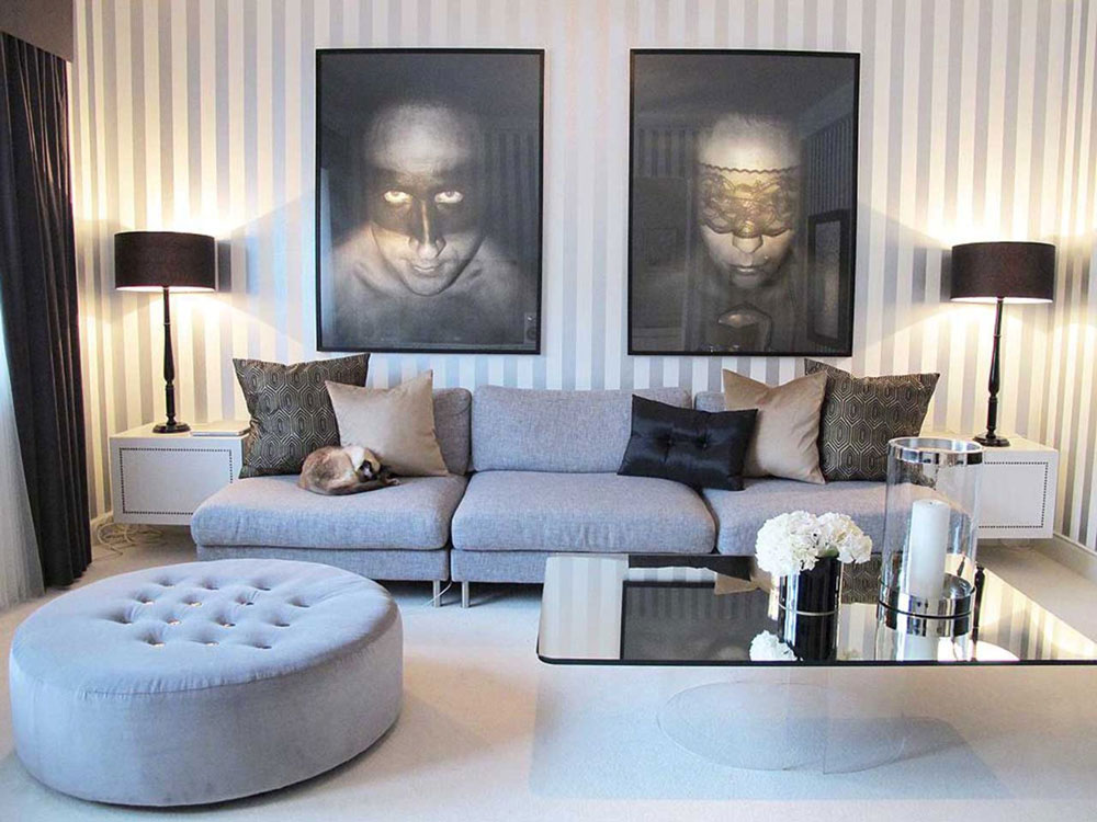 Beautiful living room with striped walls-12 Beautiful living room with striped walls