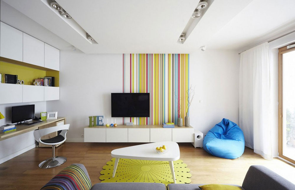 Beautiful living room with striped walls-11 Beautiful living room with striped walls