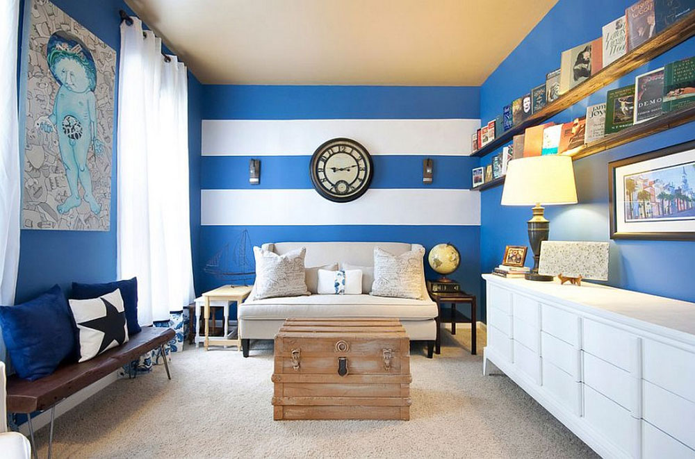 Beautiful living room with striped walls-2 Beautiful living room with striped walls