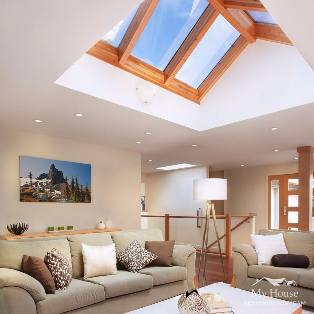 Living rooms with skylights that provide natural light 2 living rooms with skylights that provide natural light