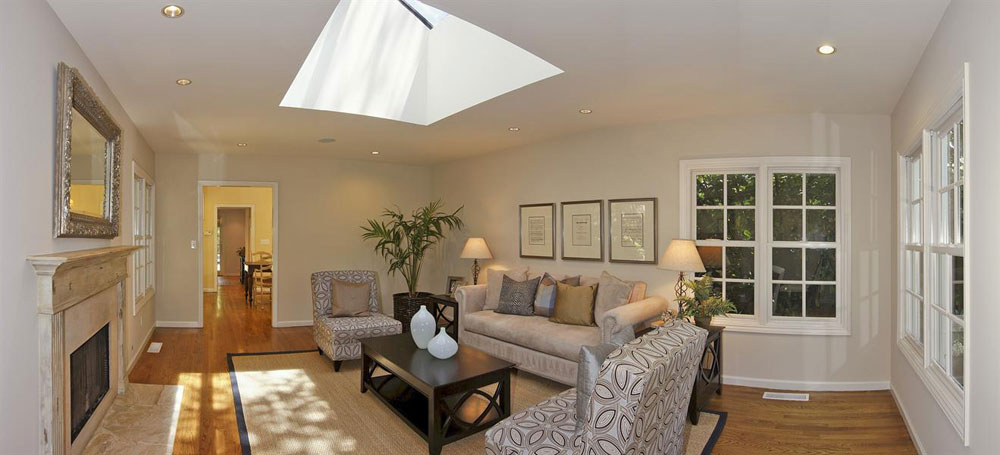Living room with skylights that provide natural light 1 living room with skylights that provide natural light