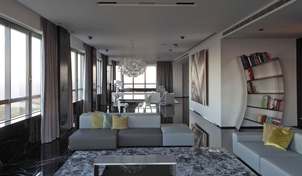 Modern-and-slim-gray-living room-interior-8 Modern and elegant gray living room interior