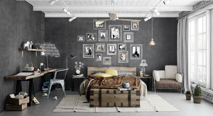 69795317185 Ideas for decorating your industrial style bedroom