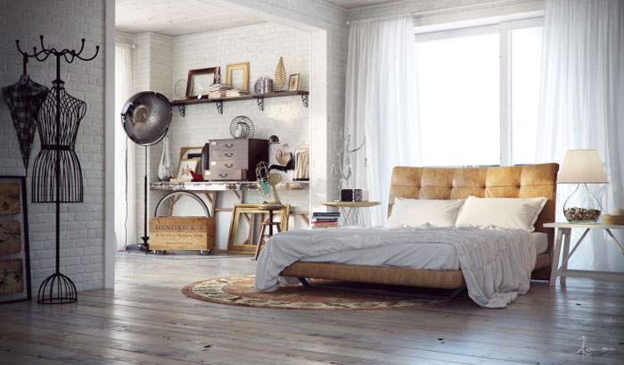 69800347161 Ideas for decorating your industrial style bedroom