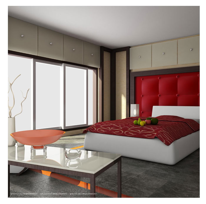 68962258307 Ideas to decorate your bedroom with red, white and black