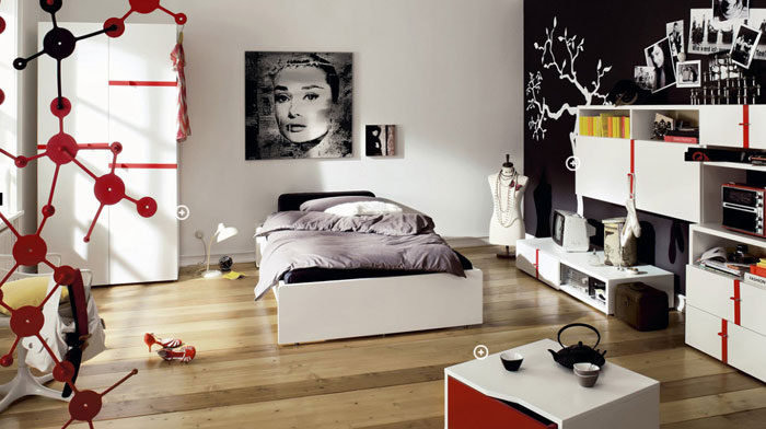 68962292414 Ideas to decorate your bedroom with red, white and black