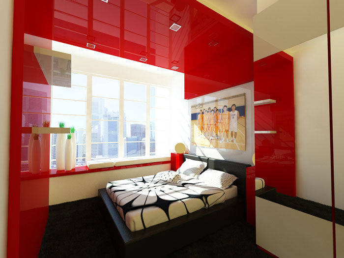 68962311557 Ideas to decorate your bedroom with red, white and black