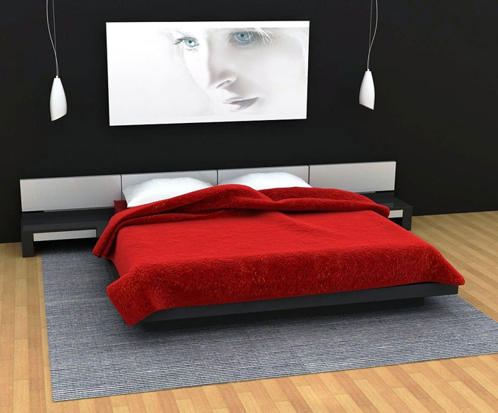 68962349410 Ideas to decorate your bedroom with red, white and black