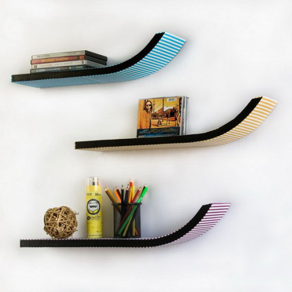 f3 Interesting floating bookshelves that would look great on your walls