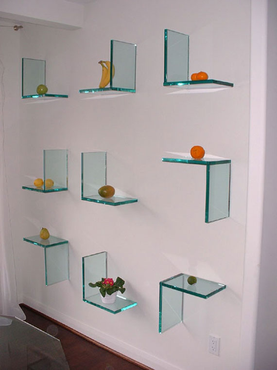 f13 Interesting floating bookshelves that would look great on your walls