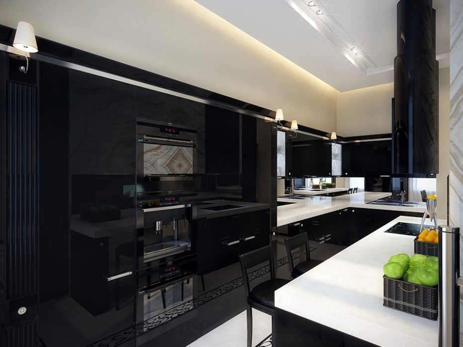 b35 The unexpected stylish look of black kitchen designs