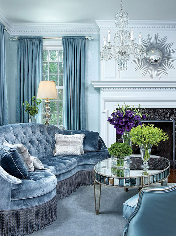 b2 Examples of living rooms decorated with blue