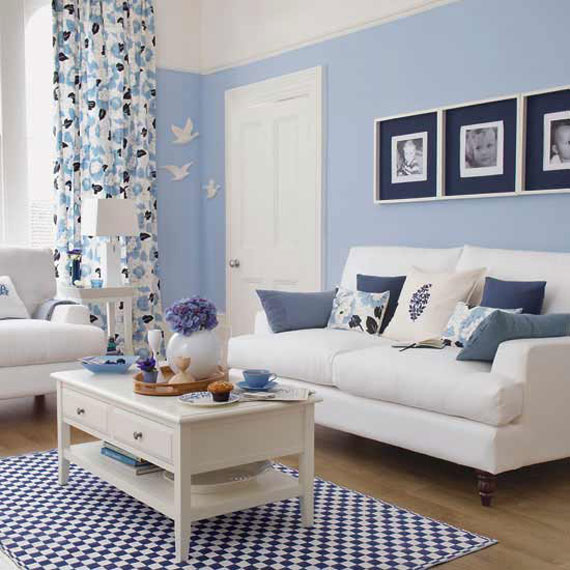 b3 Examples of living rooms decorated in blue