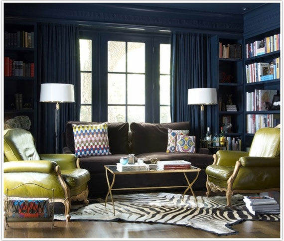 b4 Examples of living rooms decorated in blue