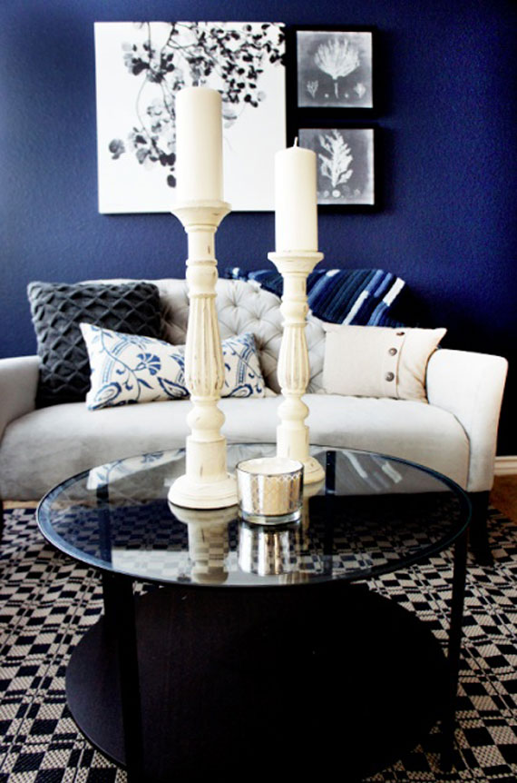 b7 Examples of living rooms decorated in blue