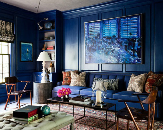 b10 Examples of living rooms decorated with blue