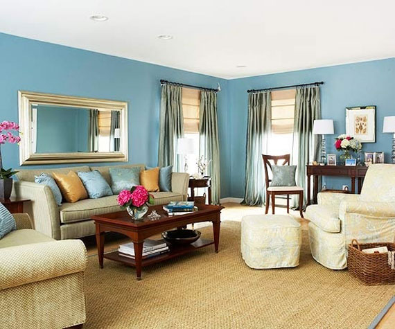 b5 Examples of living rooms decorated in blue