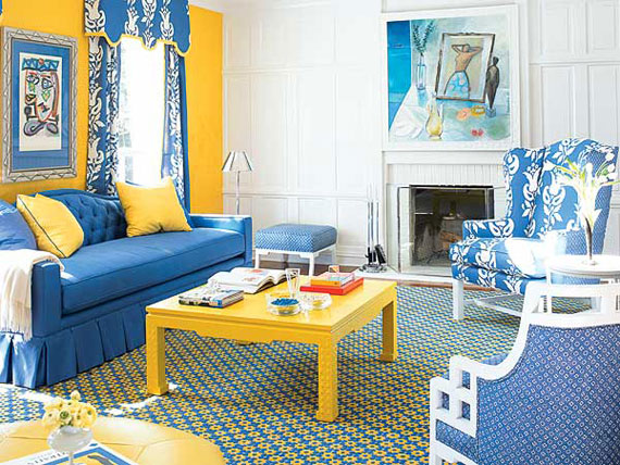 b19 Examples of living rooms decorated in blue