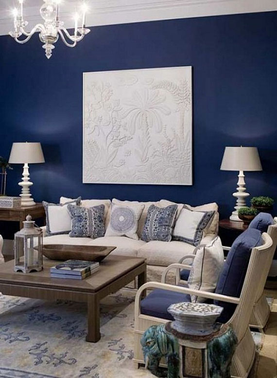 b18 Examples of living rooms decorated with blue