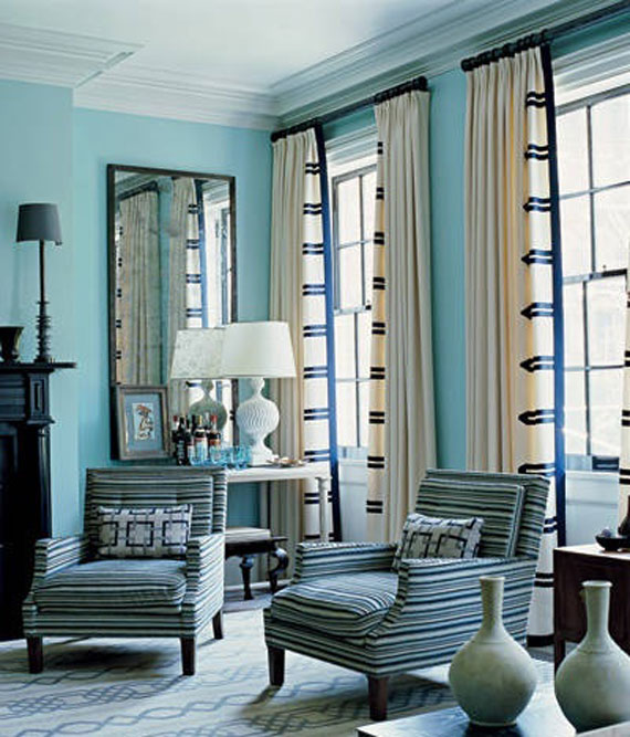 b15 Examples of living rooms decorated in blue
