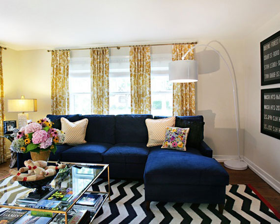 b20 Examples of living rooms decorated in blue