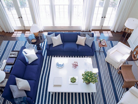 b21 Examples of living rooms decorated in blue