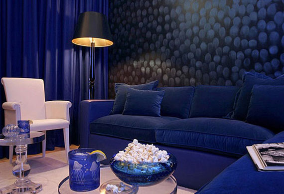 b23 Examples of living rooms decorated in blue
