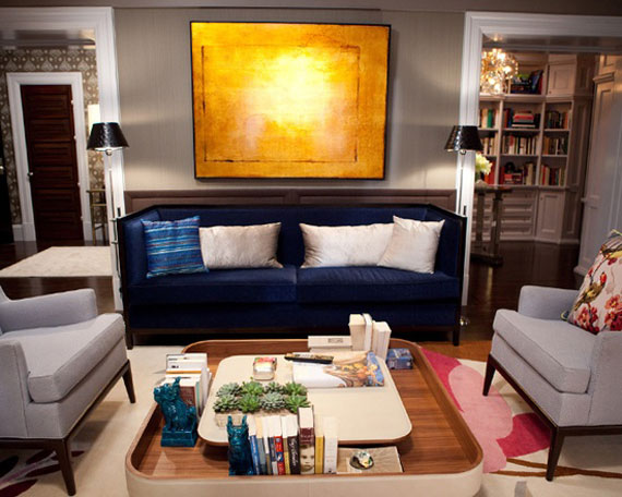 b22 Examples of living rooms decorated in blue