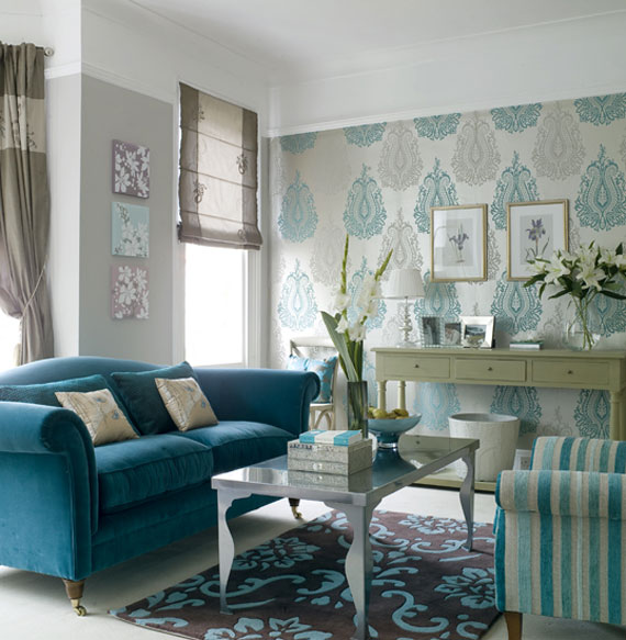 b28 Examples of living rooms decorated with blue