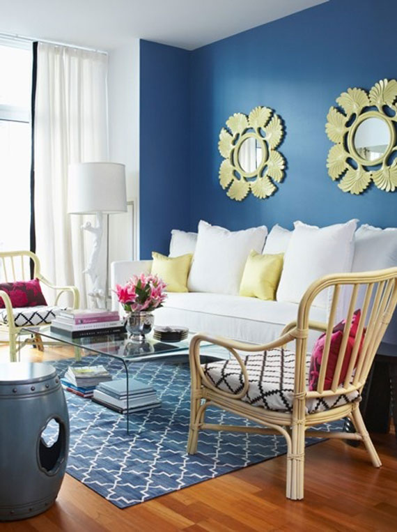 b30 Examples of living rooms decorated in blue