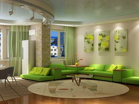 g3 Green Living Room Design Ideas: Decorations and Furniture