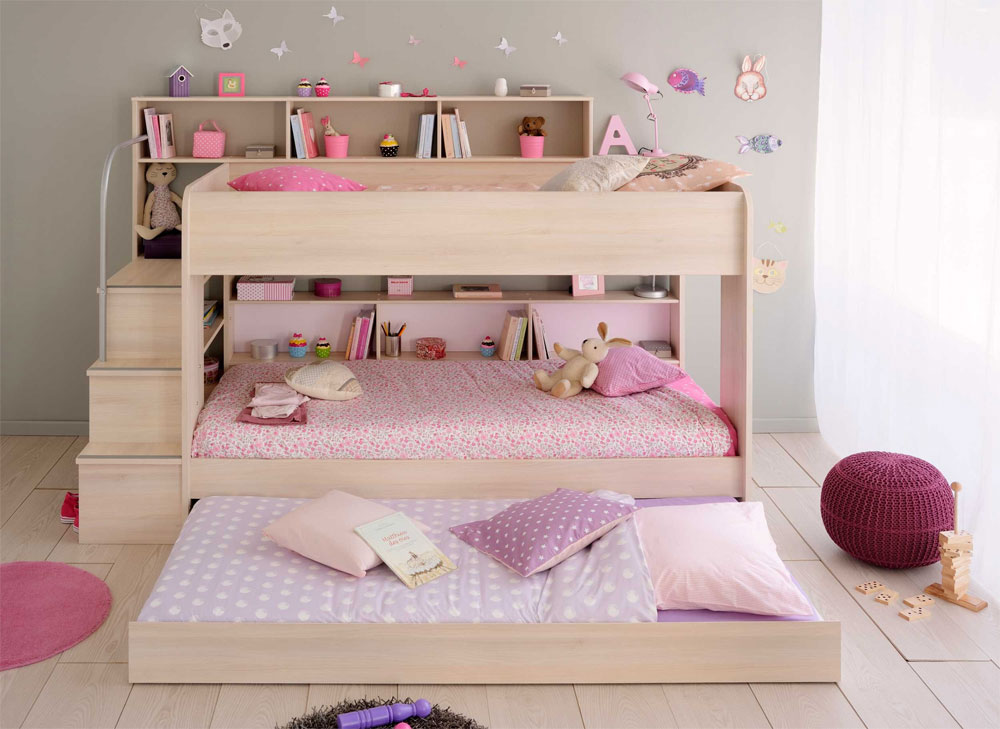 modern bunk bed with extra pull-out bed 20 low bunk beds ideas for low ceiling rooms