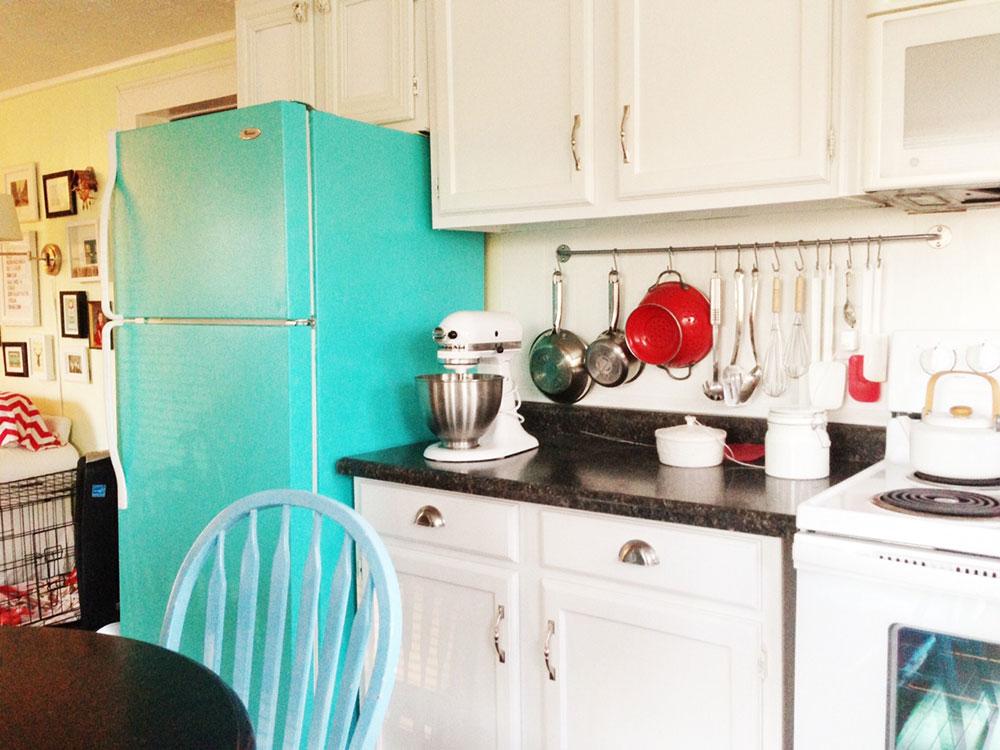 small-white-kitchen-retro-blue-fridge-image_20-design 5 ways to integrate your appliances into your trendy home design