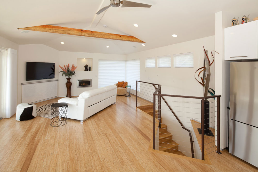 Contemporary family room1 pros and cons of bamboo floors