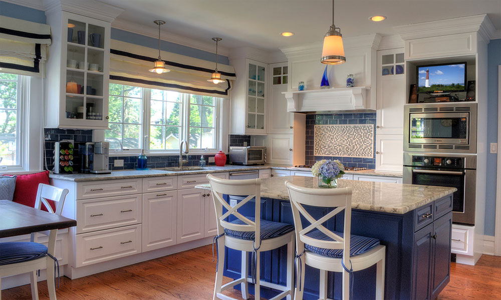 Blue-Kitchen-by-Showcase-Kitchen-Bath Blue kitchen ideas: cupboards, walls and counters
