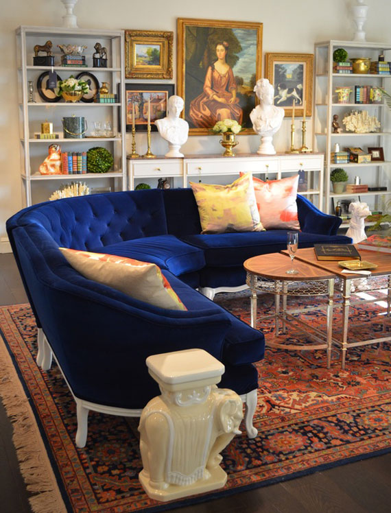 b1 Examples of living rooms decorated in blue